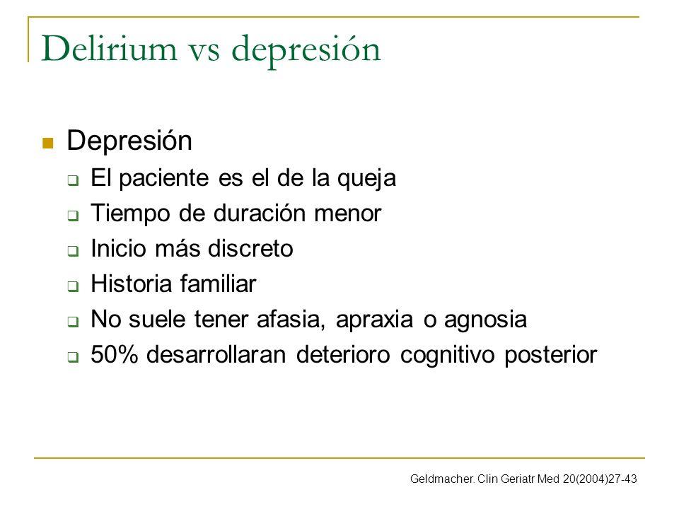Delirium vs depresión Depresión El paciente es el de la queja
