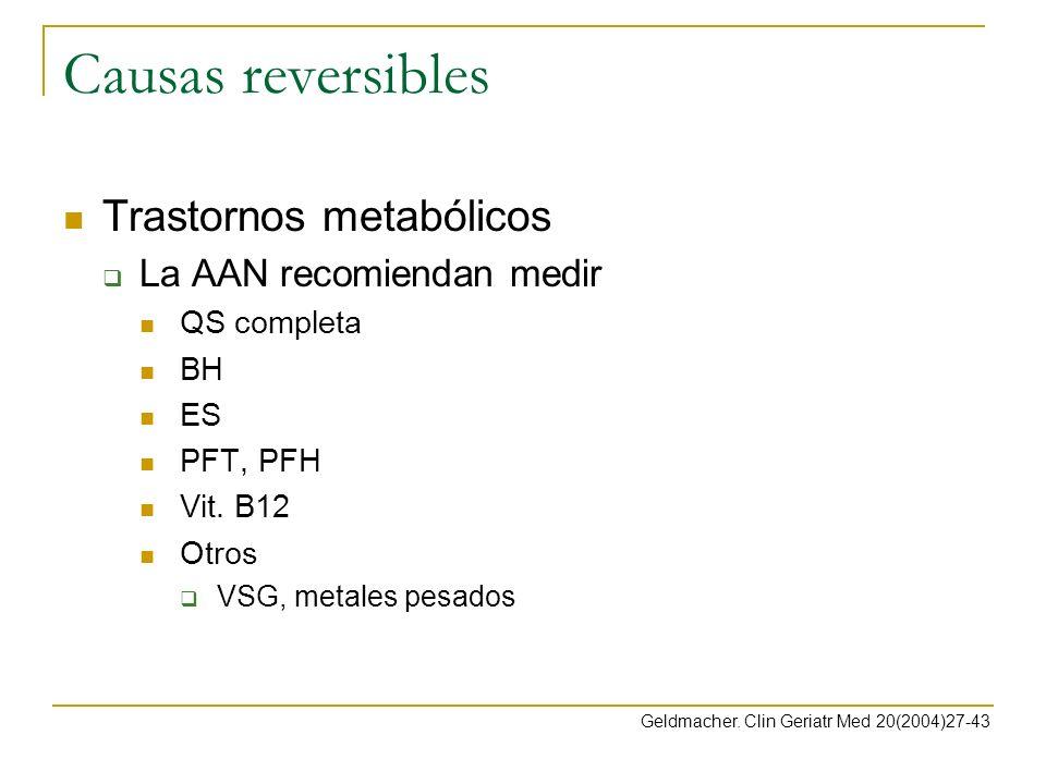Causas reversibles Trastornos metabólicos La AAN recomiendan medir