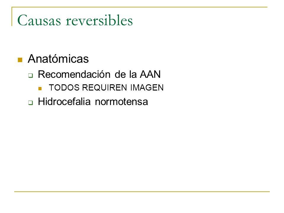 Causas reversibles Anatómicas Recomendación de la AAN