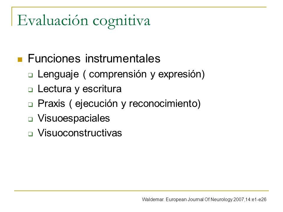 Evaluación cognitiva Funciones instrumentales
