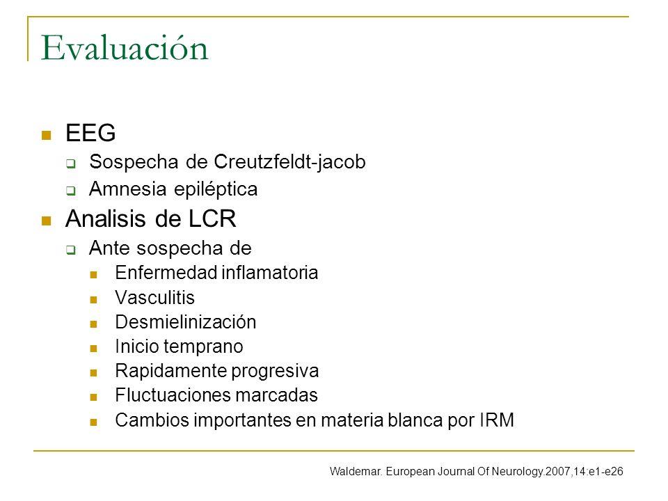 Evaluación EEG Analisis de LCR Sospecha de Creutzfeldt-jacob