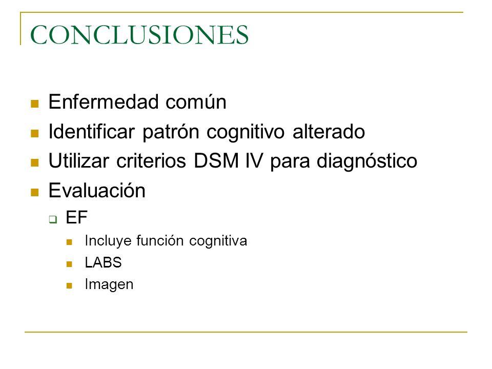 CONCLUSIONES Enfermedad común Identificar patrón cognitivo alterado