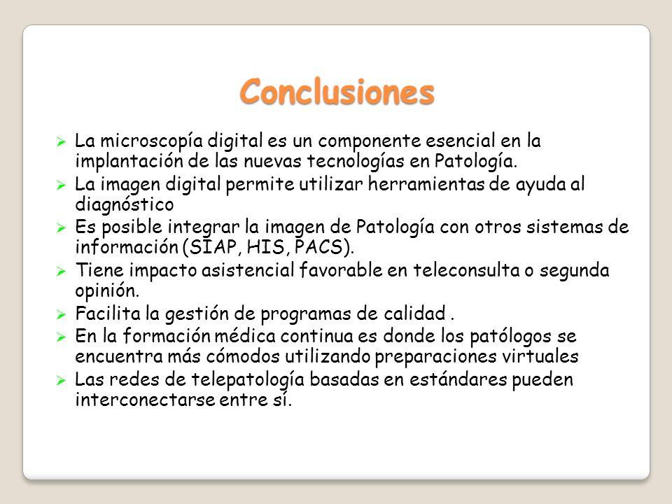 Conclusiones La microscopía digital es un componente esencial en la implantación de las nuevas tecnologías en Patología.