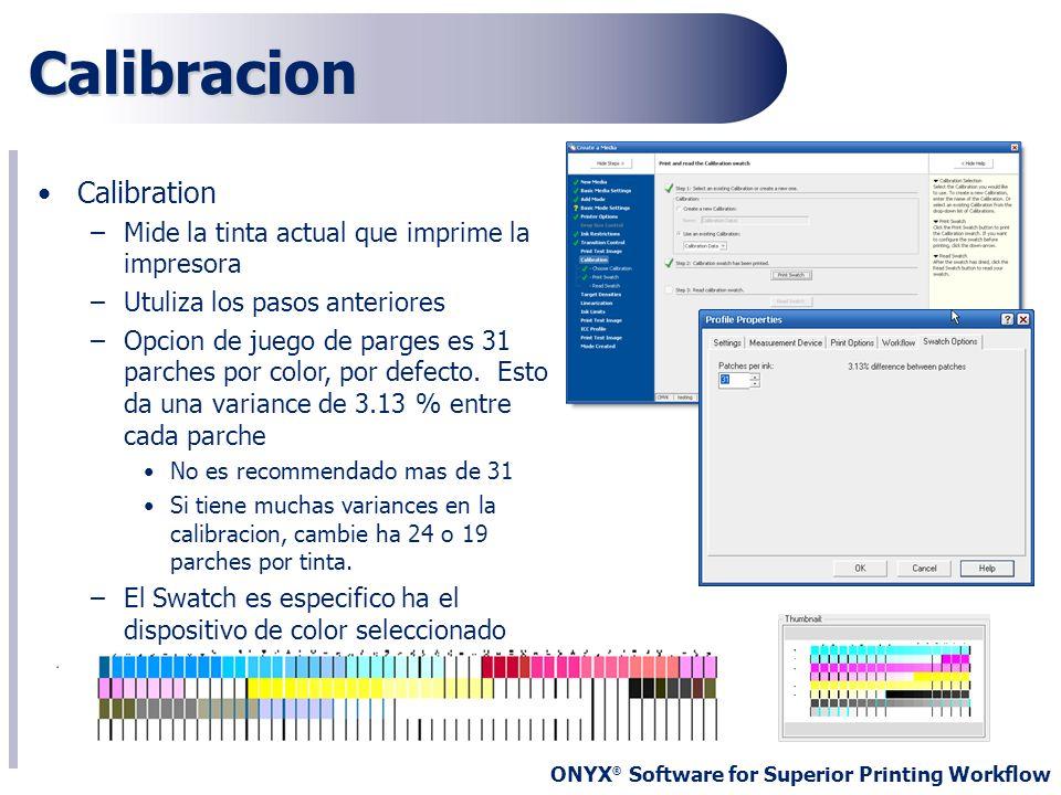 Calibracion Calibration Mide la tinta actual que imprime la impresora