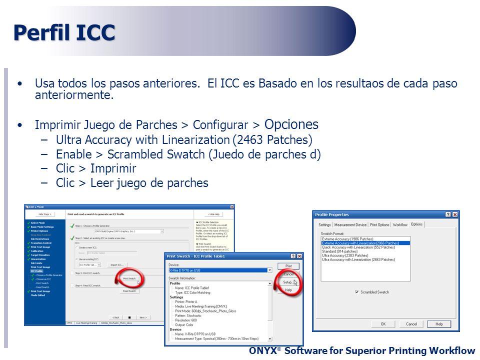 Perfil ICC Usa todos los pasos anteriores. El ICC es Basado en los resultaos de cada paso anteriormente.