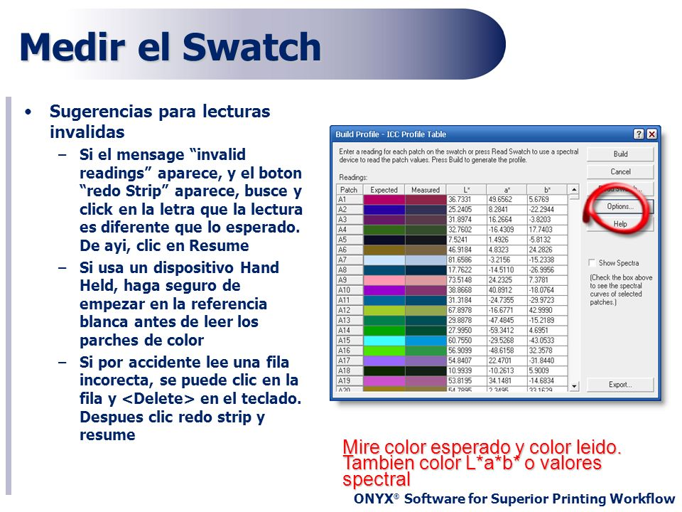 Medir el Swatch Sugerencias para lecturas invalidas.