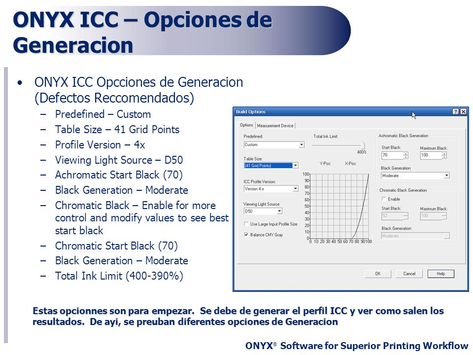ONYX ICC – Opciones de Generacion