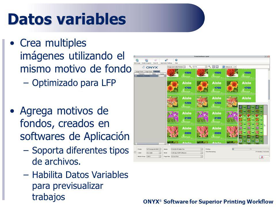 Datos variables Crea multiples imágenes utilizando el mismo motivo de fondo. Optimizado para LFP.