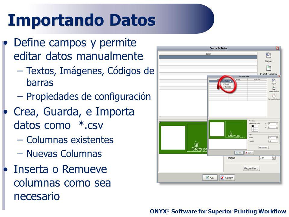 Importando Datos Define campos y permite editar datos manualmente
