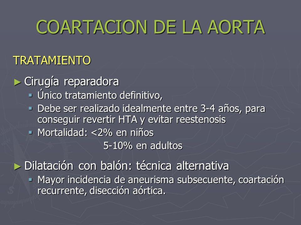 COARTACION DE LA AORTA TRATAMIENTO Cirugía reparadora