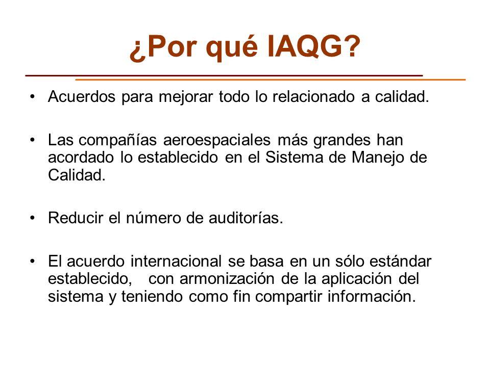 ¿Por qué IAQG Acuerdos para mejorar todo lo relacionado a calidad.