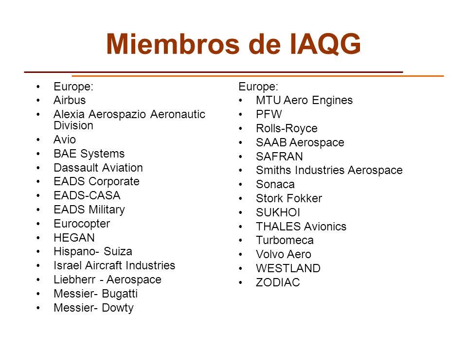 Miembros de IAQG Europe: Airbus Alexia Aerospazio Aeronautic Division