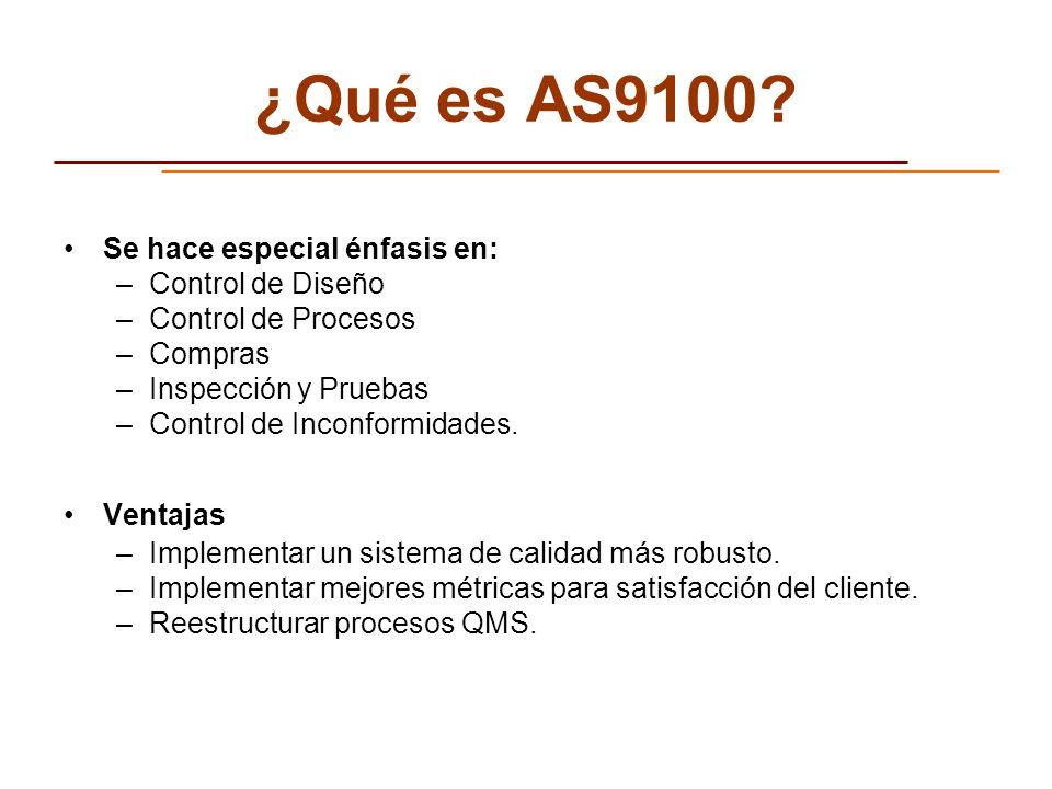 ¿Qué es AS9100 Se hace especial énfasis en: Control de Diseño