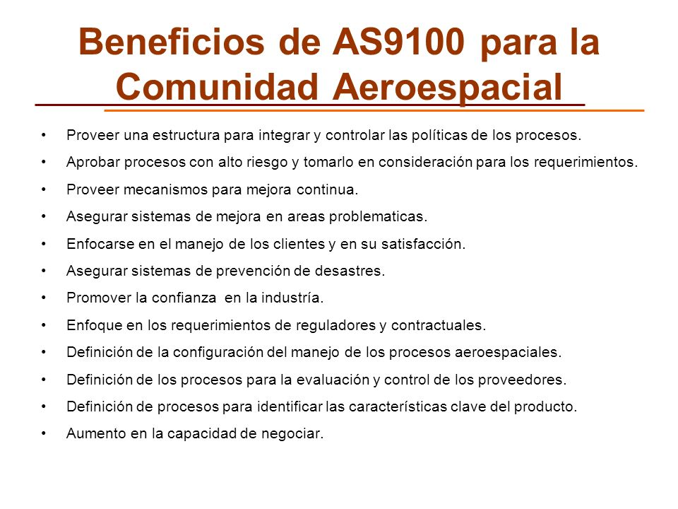 Beneficios de AS9100 para la Comunidad Aeroespacial