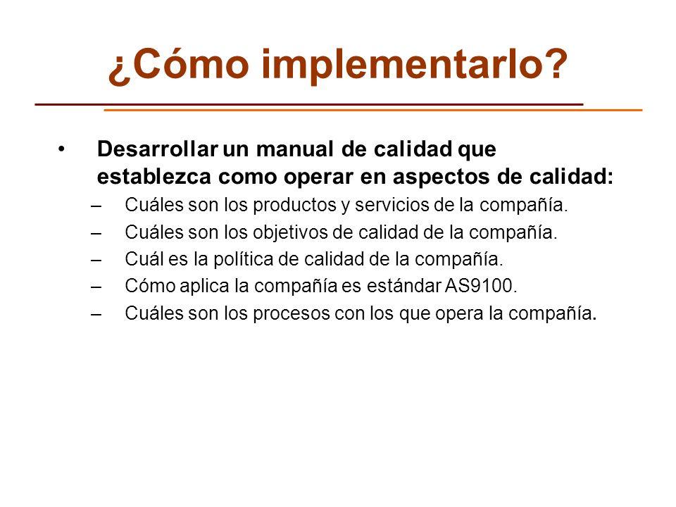 ¿Cómo implementarlo Desarrollar un manual de calidad que establezca como operar en aspectos de calidad: