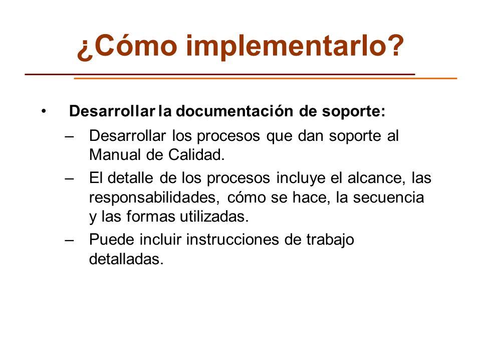 ¿Cómo implementarlo Desarrollar la documentación de soporte: