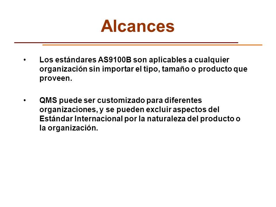 Alcances Los estándares AS9100B son aplicables a cualquier organización sin importar el tipo, tamaño o producto que proveen.