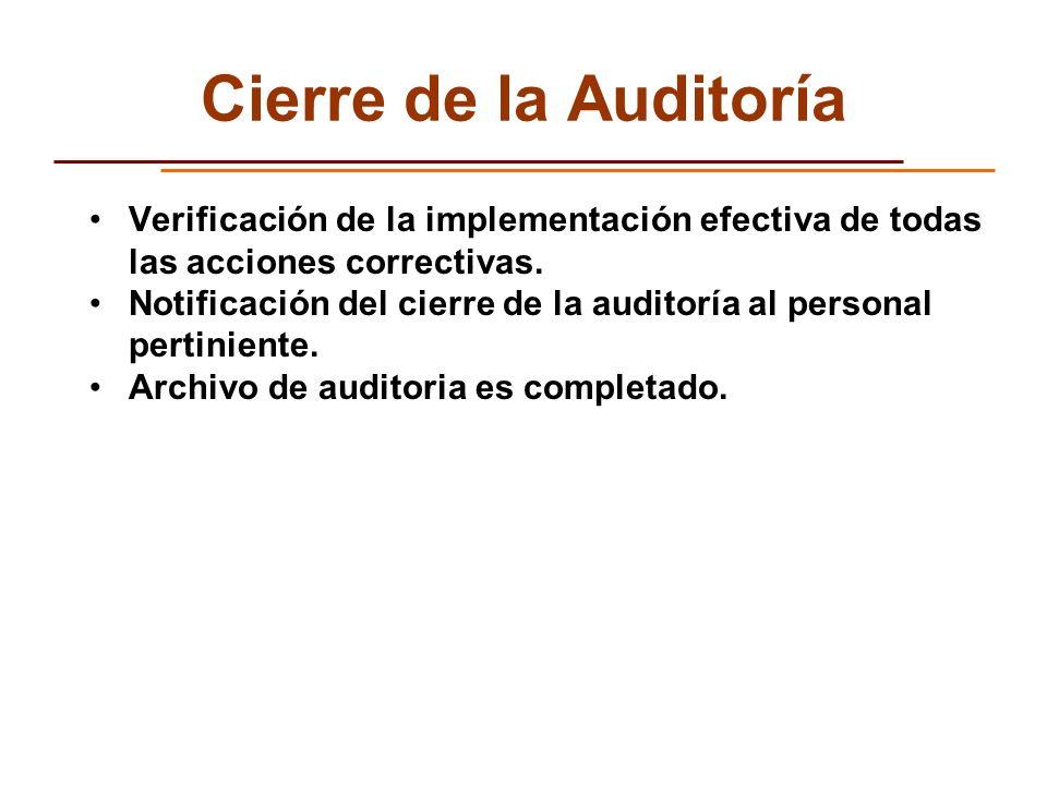 Cierre de la Auditoría Verificación de la implementación efectiva de todas las acciones correctivas.