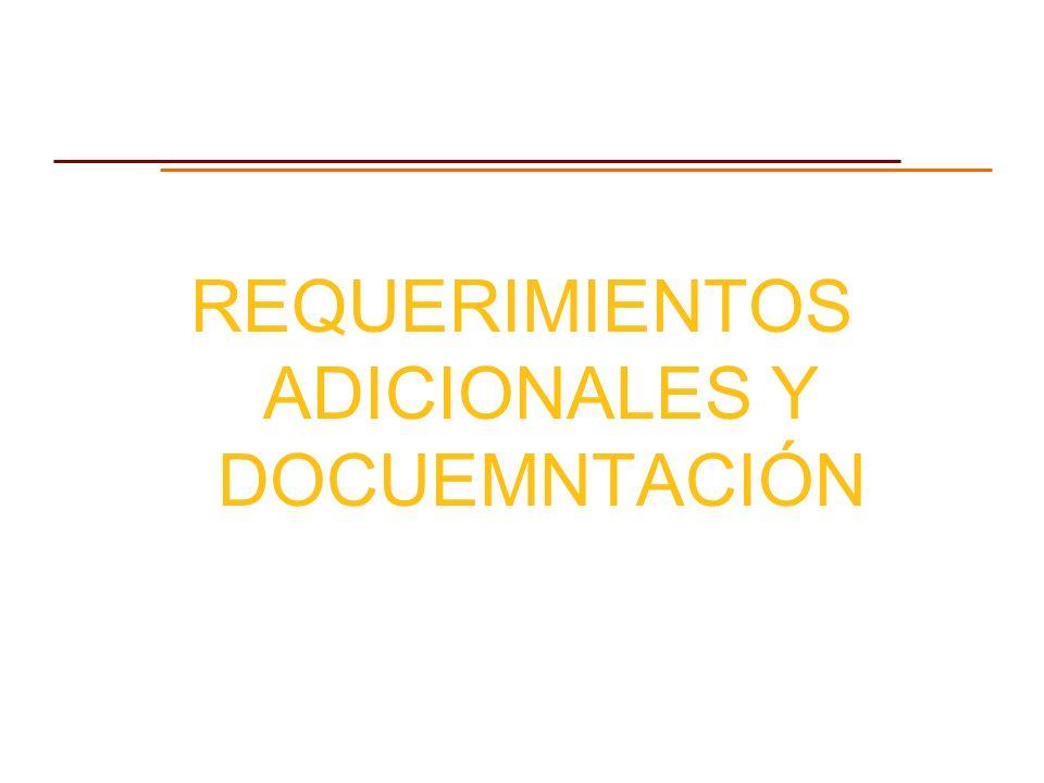 REQUERIMIENTOS ADICIONALES Y DOCUEMNTACIÓN