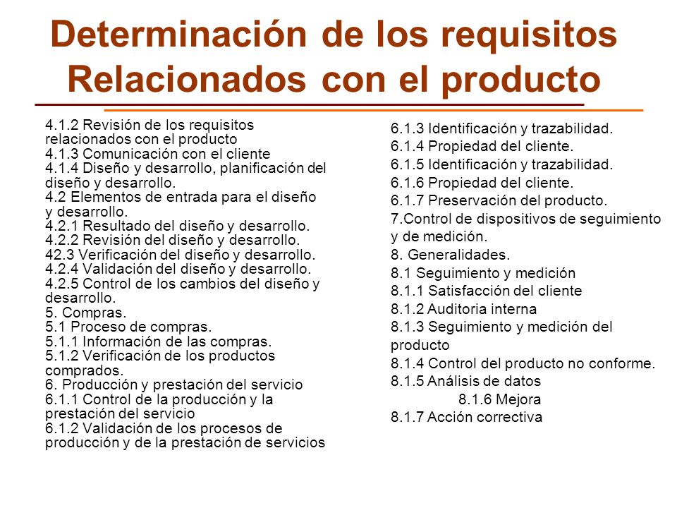 Determinación de los requisitos Relacionados con el producto