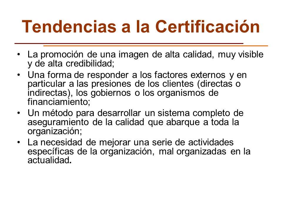 Tendencias a la Certificación