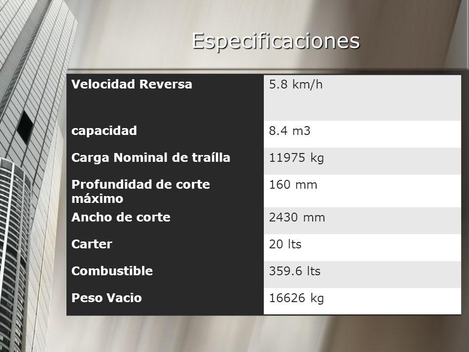 Especificaciones Velocidad Reversa 5.8 km/h capacidad 8.4 m3