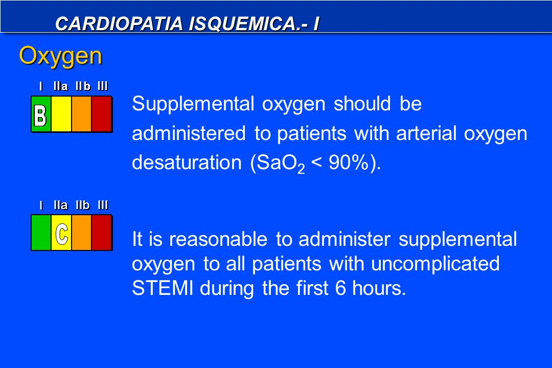 Oxygen Supplemental oxygen should be administered to patients with arterial oxygen desaturation (SaO2 < 90%).