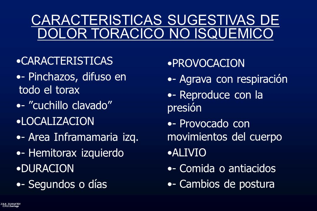 CARACTERISTICAS SUGESTIVAS DE DOLOR TORACICO NO ISQUEMICO