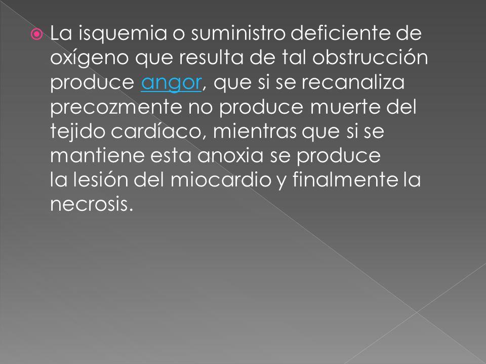 La isquemia o suministro deficiente de oxígeno que resulta de tal obstrucción produce angor, que si se recanaliza precozmente no produce muerte del tejido cardíaco, mientras que si se mantiene esta anoxia se produce la lesión del miocardio y finalmente la necrosis.