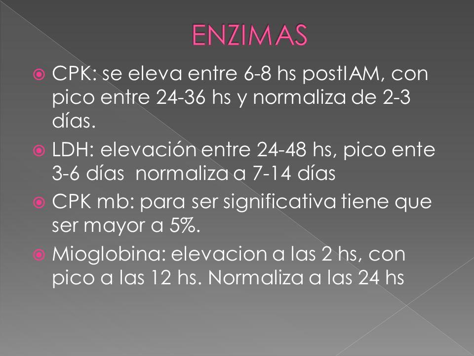 ENZIMAS CPK: se eleva entre 6-8 hs postIAM, con pico entre 24-36 hs y normaliza de 2-3 días.