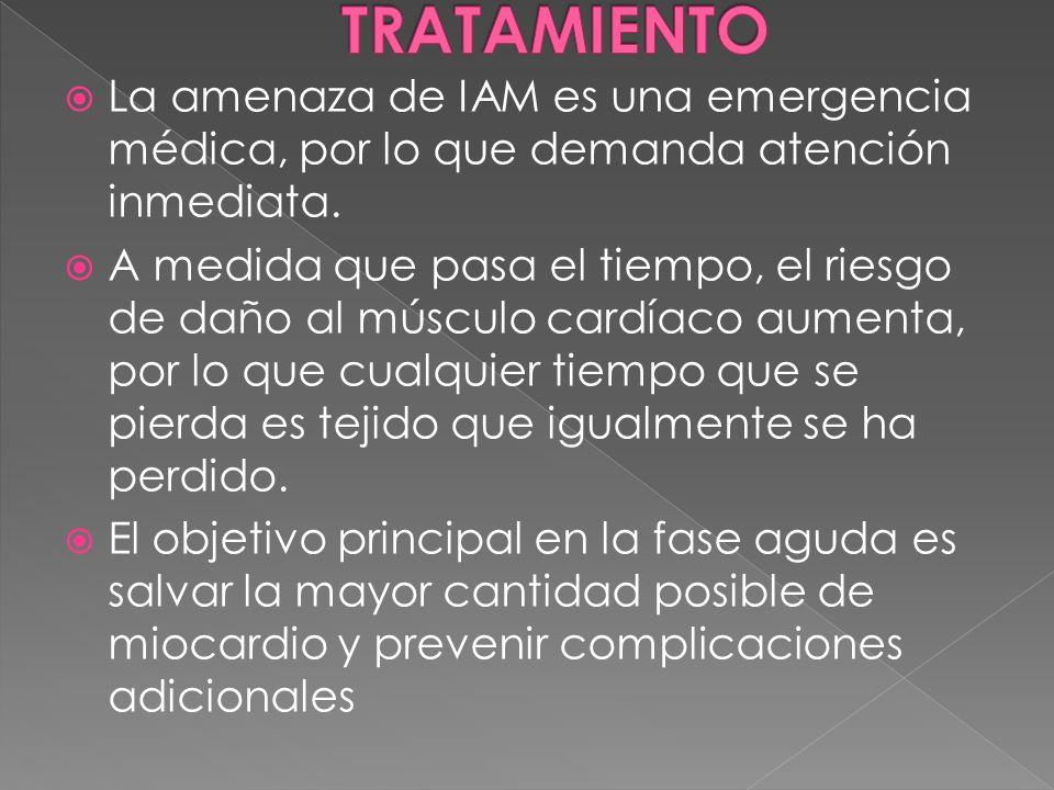 TRATAMIENTO La amenaza de IAM es una emergencia médica, por lo que demanda atención inmediata.