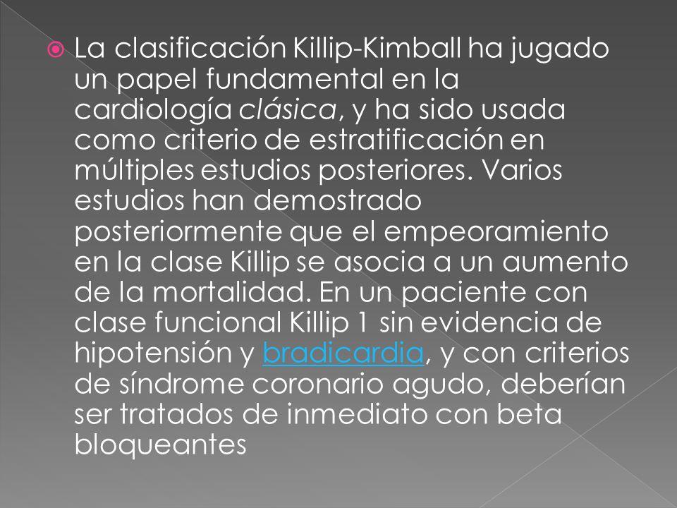 La clasificación Killip-Kimball ha jugado un papel fundamental en la cardiología clásica, y ha sido usada como criterio de estratificación en múltiples estudios posteriores.