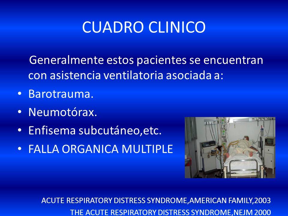 CUADRO CLINICO Generalmente estos pacientes se encuentran con asistencia ventilatoria asociada a: Barotrauma.