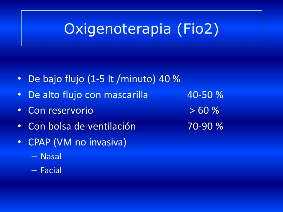 Oxigenoterapia (Fio2) De bajo flujo (1-5 lt /minuto) 40 %