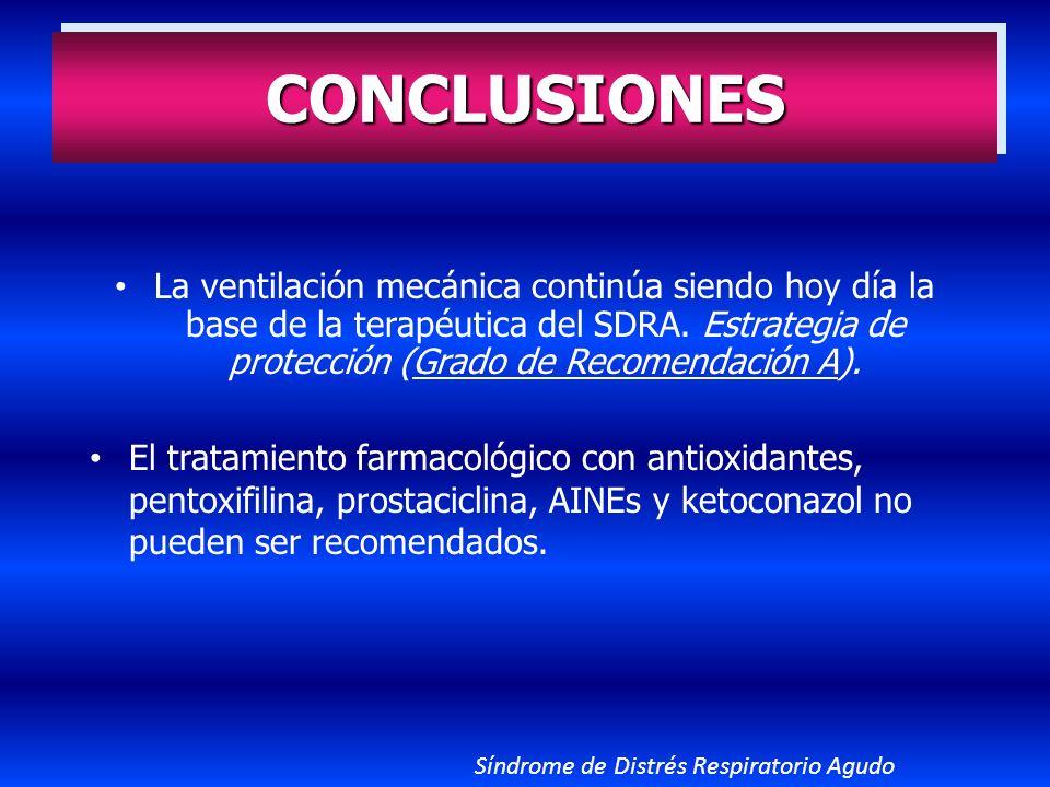 CONCLUSIONES La ventilación mecánica continúa siendo hoy día la base de la terapéutica del SDRA. Estrategia de protección (Grado de Recomendación A).