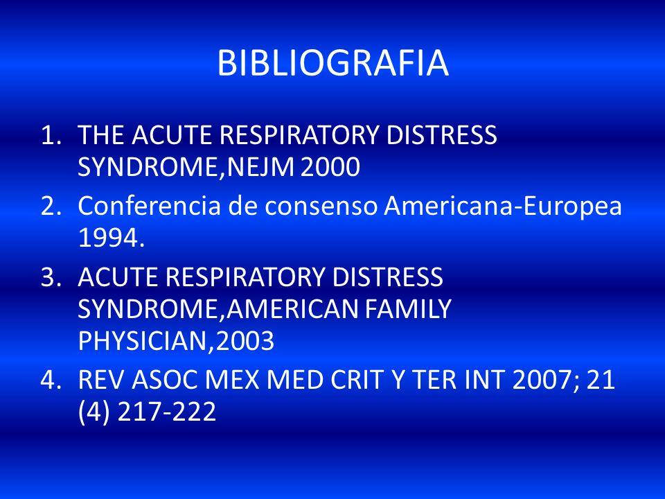 BIBLIOGRAFIA THE ACUTE RESPIRATORY DISTRESS SYNDROME,NEJM 2000