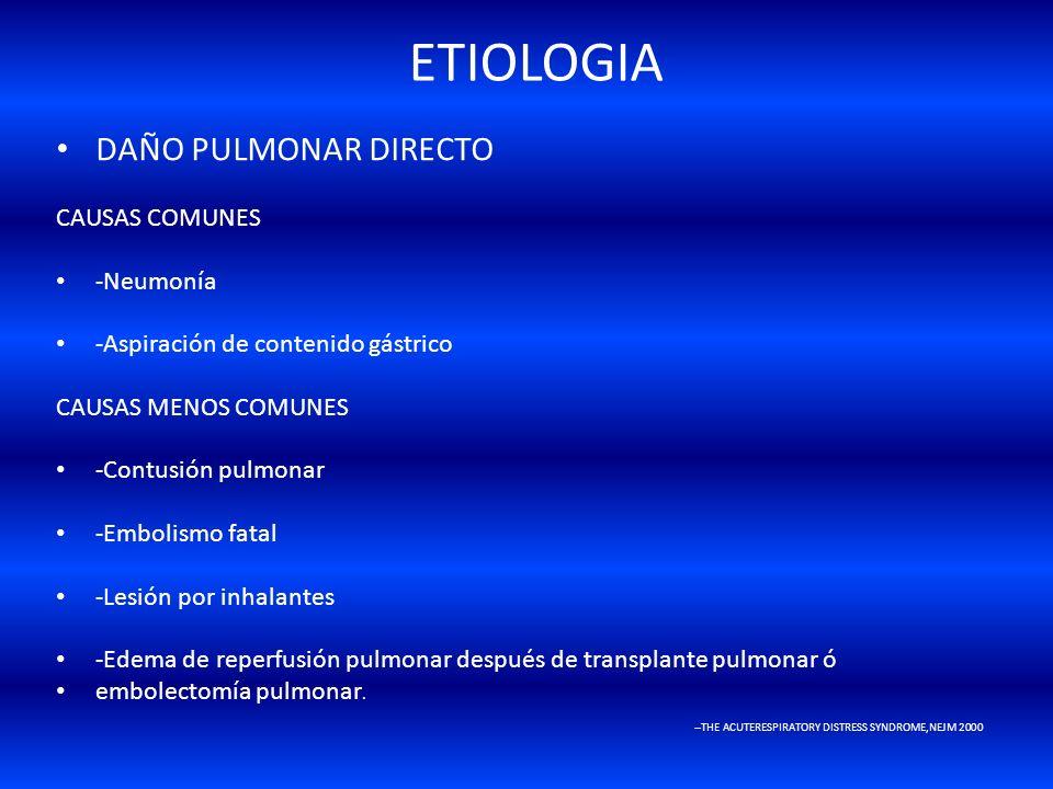 ETIOLOGIA DAÑO PULMONAR DIRECTO CAUSAS COMUNES -Neumonía