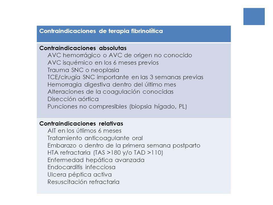 Contraindicaciones de terapia fibrinolítica
