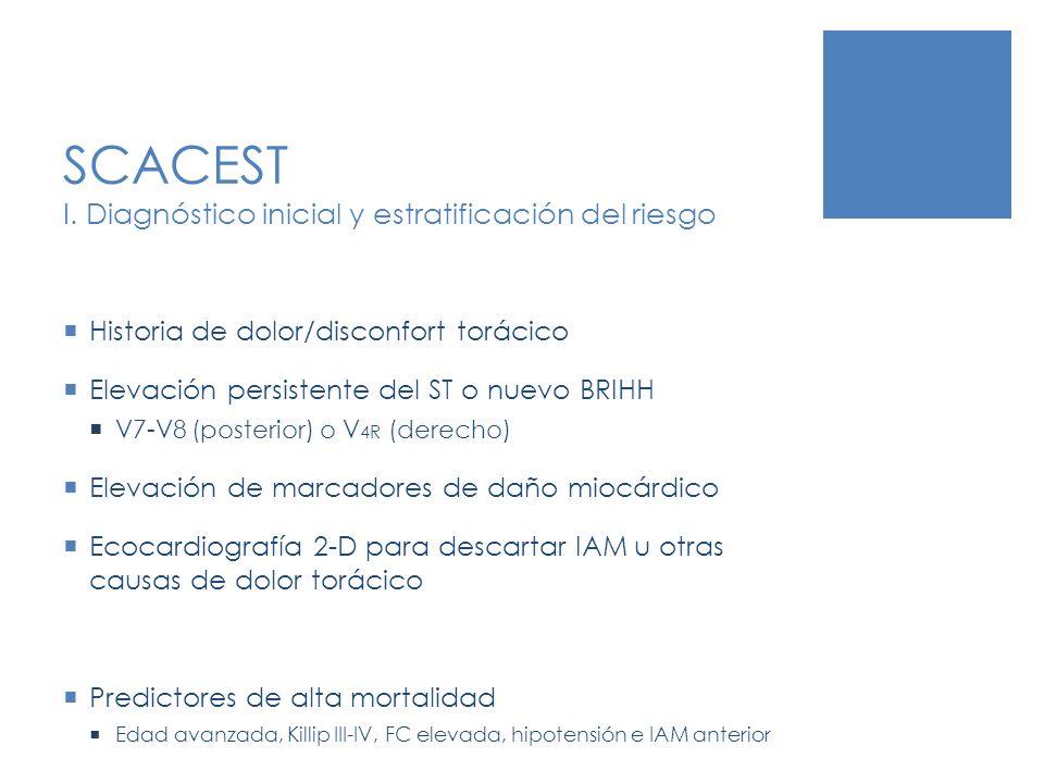 SCACEST I. Diagnóstico inicial y estratificación del riesgo