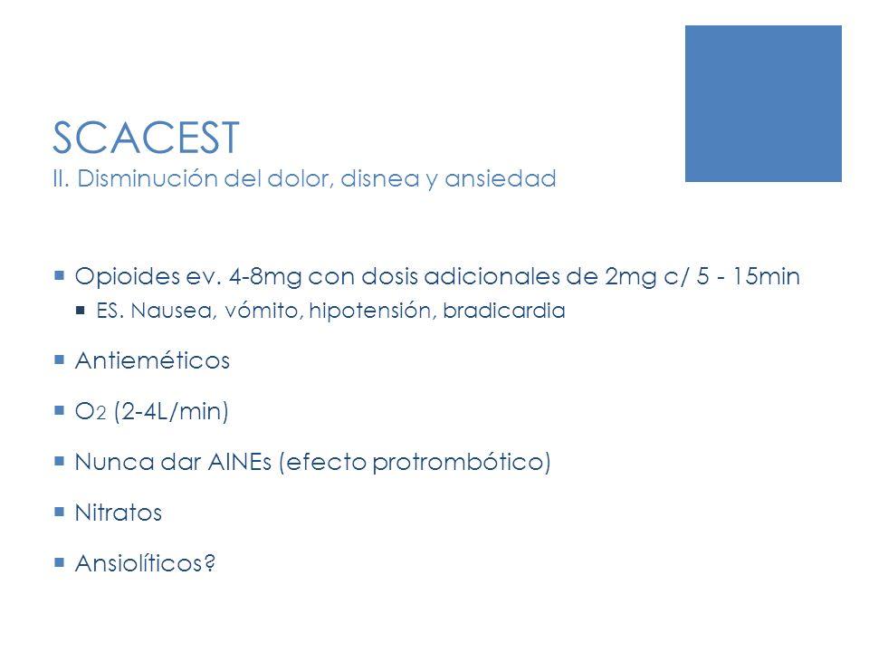 SCACEST II. Disminución del dolor, disnea y ansiedad