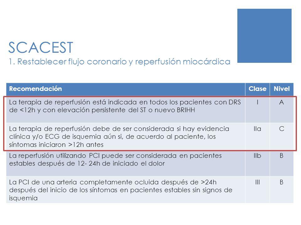 SCACEST 1. Restablecer flujo coronario y reperfusión miocárdica