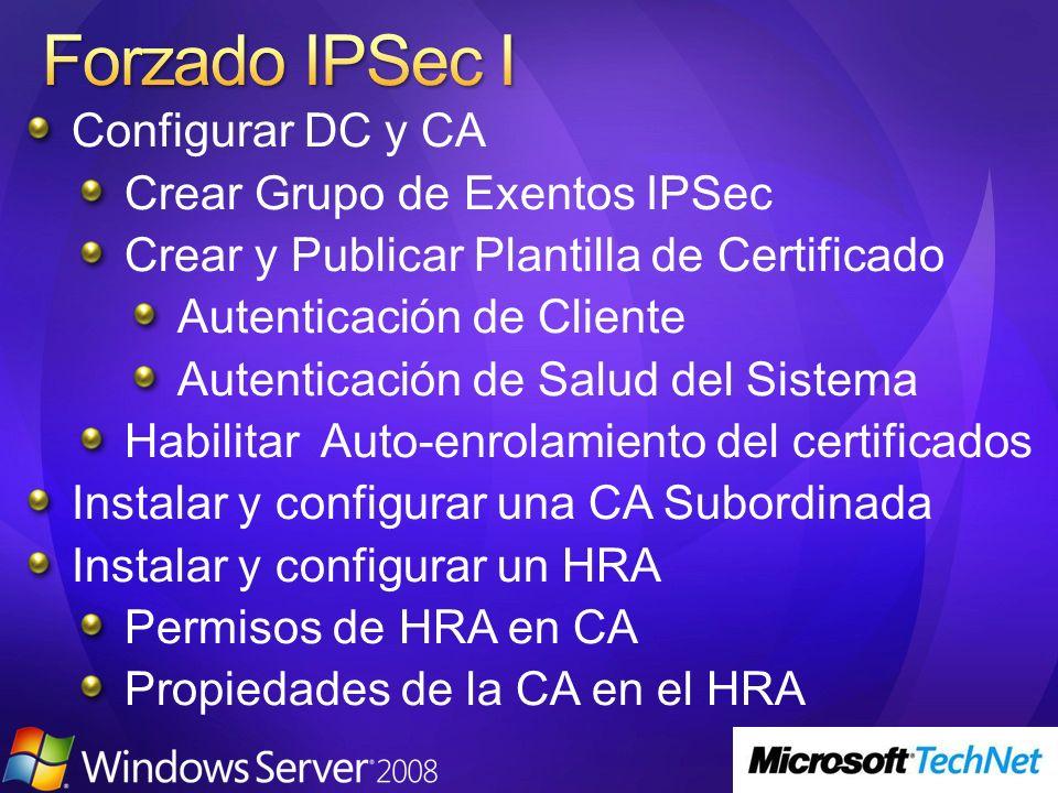 Forzado IPSec I Configurar DC y CA Crear Grupo de Exentos IPSec