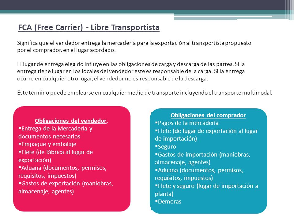 FCA (Free Carrier) - Libre Transportista