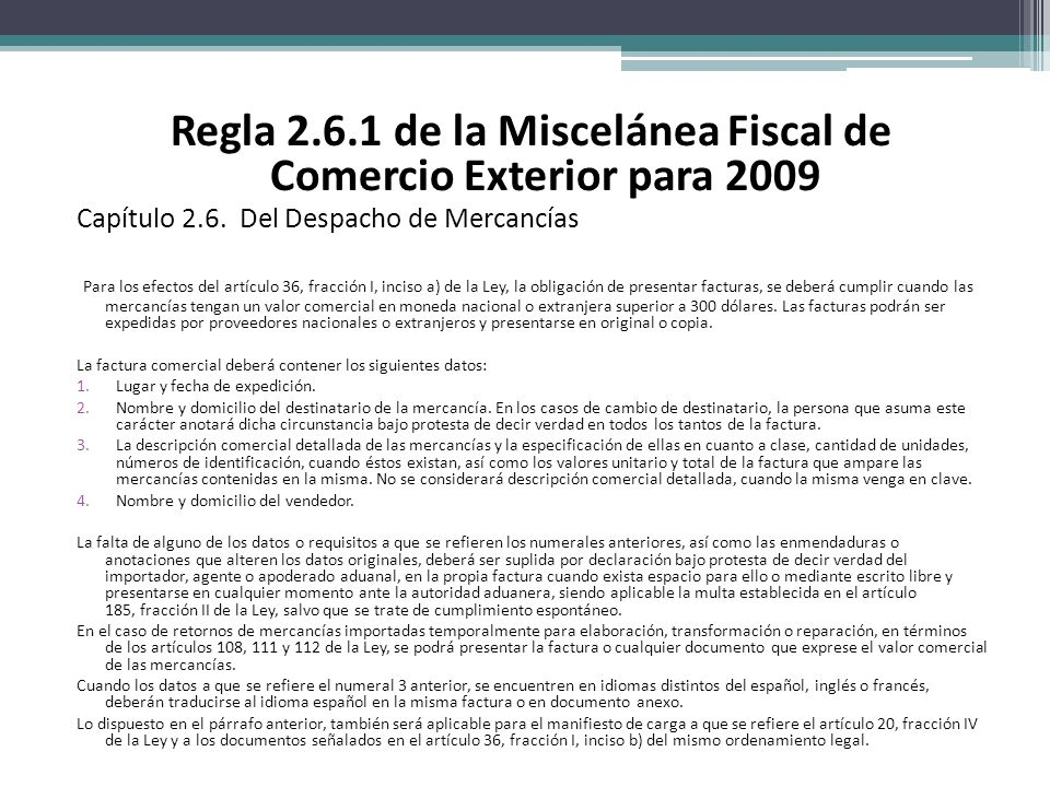 Regla 2.6.1 de la Miscelánea Fiscal de Comercio Exterior para 2009
