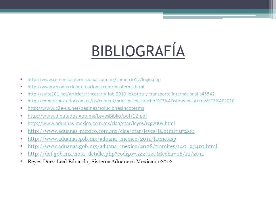 BIBLIOGRAFÍA http://www.c2e-us.net/paginas/solucionesIncoterms