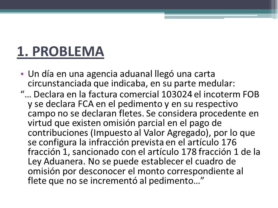 1. PROBLEMA Un día en una agencia aduanal llegó una carta circunstanciada que indicaba, en su parte medular: