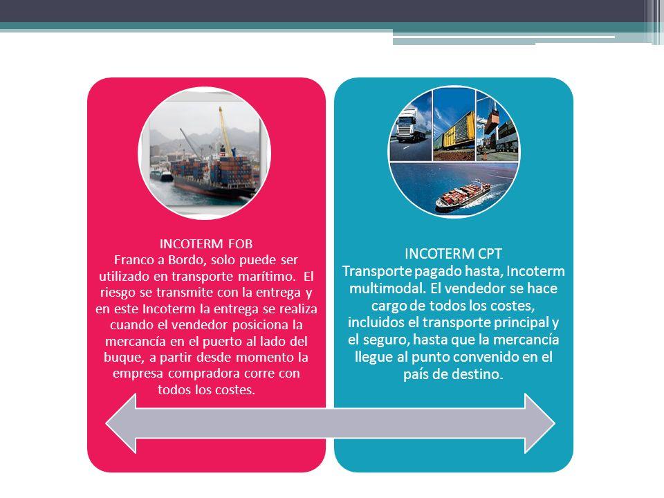 INCOTERM FOB Franco a Bordo, solo puede ser utilizado en transporte marítimo. El riesgo se transmite con la entrega y en este Incoterm la entrega se realiza cuando el vendedor posiciona la mercancía en el puerto al lado del buque, a partir desde momento la empresa compradora corre con todos los costes.