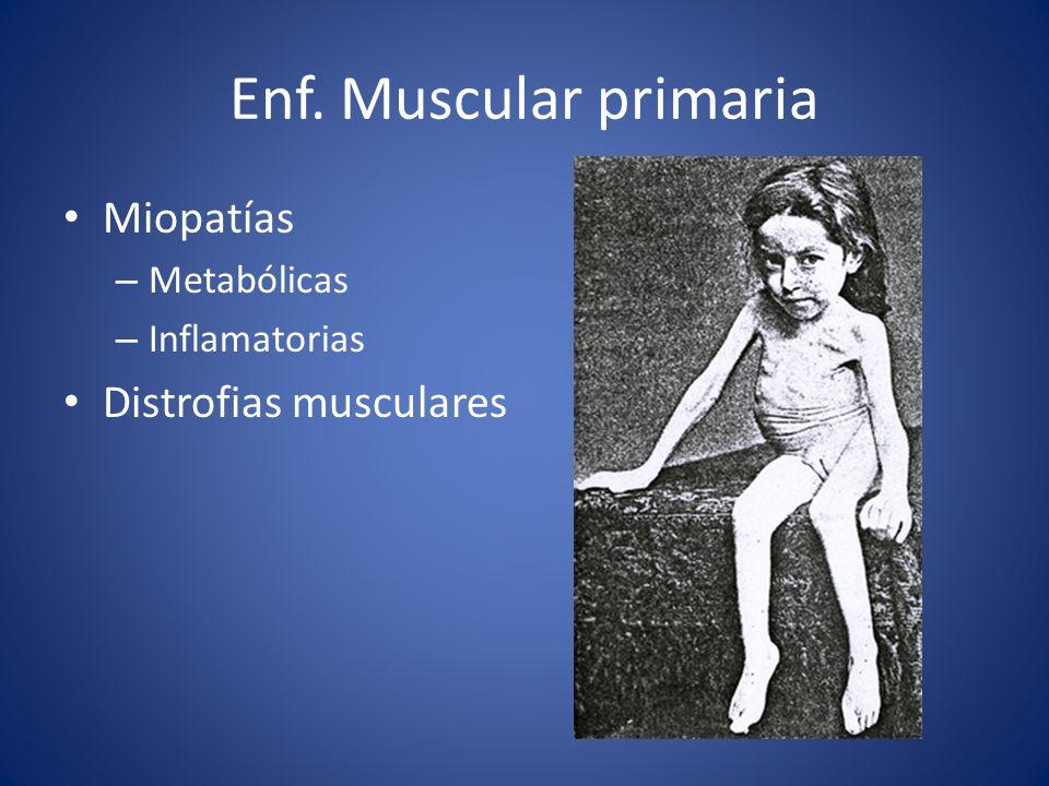 Enf. Muscular primaria Miopatías Distrofias musculares Metabólicas