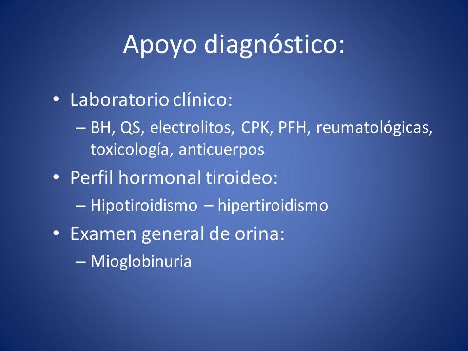 Apoyo diagnóstico: Laboratorio clínico: Perfil hormonal tiroideo: