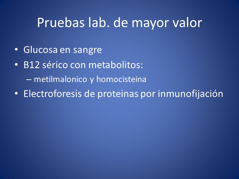 Pruebas lab. de mayor valor